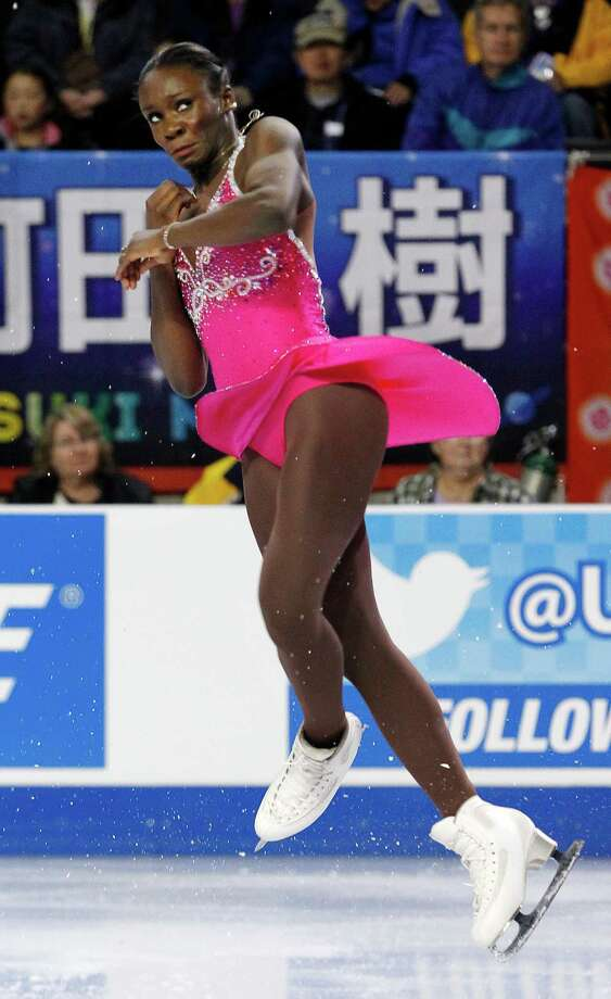France's Mae Berenice Meite performs during the ice dance short dance. Photo: AP