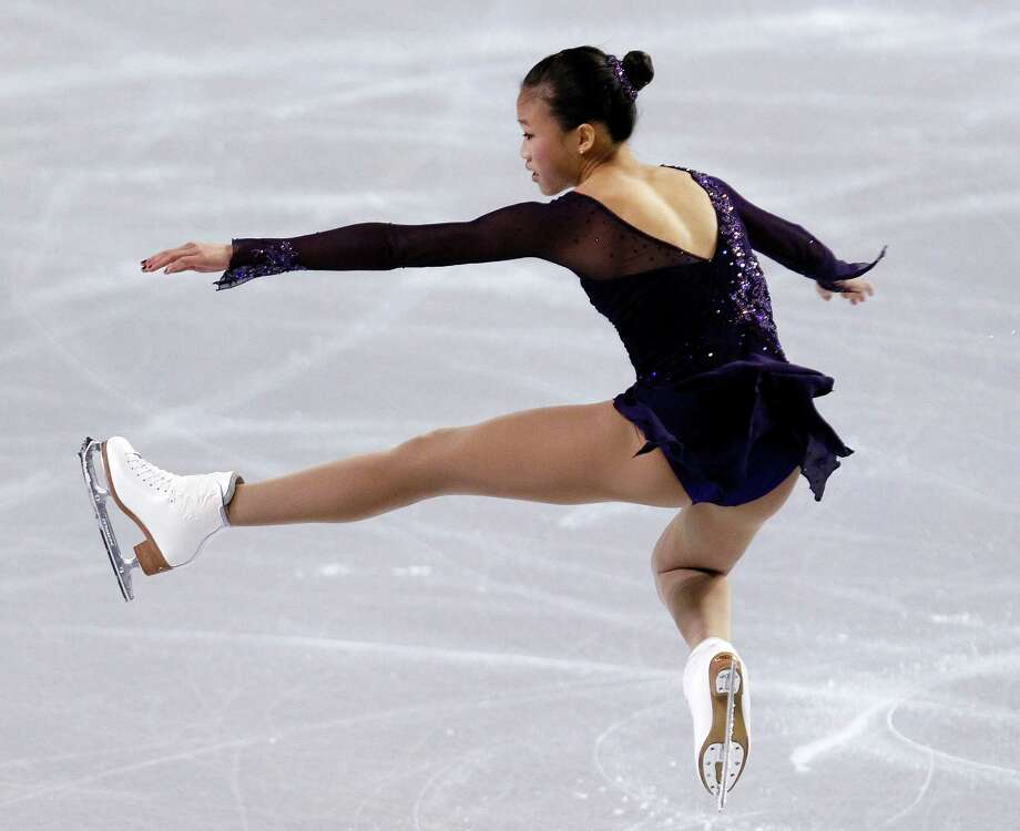 Christina Gao performs during the ladies short program. Photo: AP