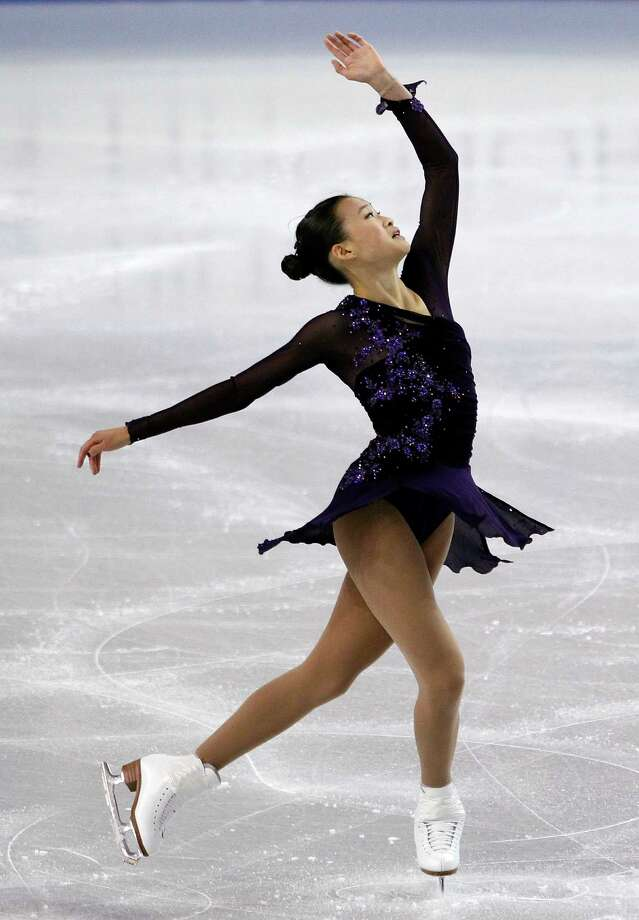 Christina Gao competes during the ladies short program. Photo: AP