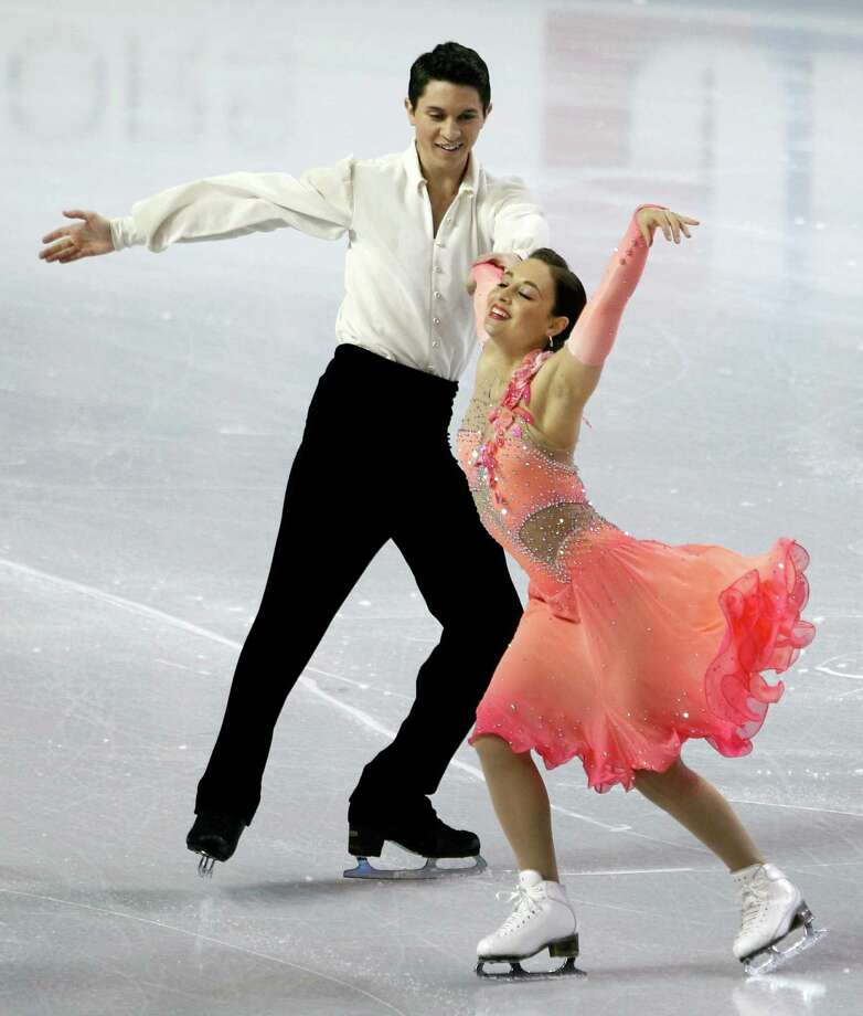 United States' Anastasia Cannuscio, right, and Colin McManus perform during the ice dance short dance. Photo: AP