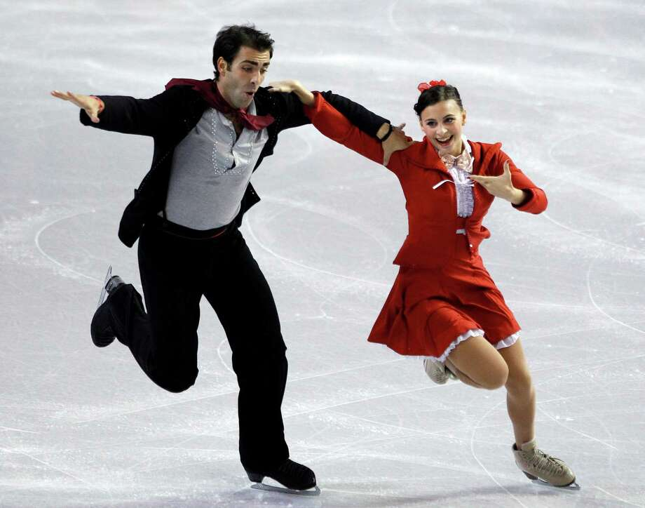 Italy's Lorenza Allessandrini, right, and Simone Vaturi perform during the ice dance short dance. Photo: AP