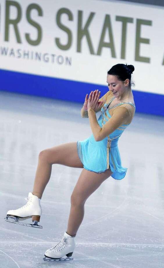 Germany's Sarah Hecken skates during the ladies short program. Photo: AP