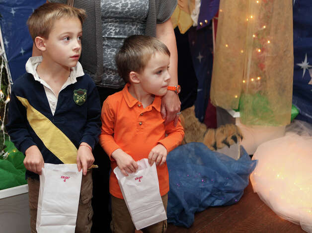 "Brothers, Bingham Autry, 5, and Pierson, 3, attend the Auxiliary of Ahlbin Centers for Rehabilitation's ""Enchanted Castle"" at the Burr Mansion in Fairfield, Conn. on Sunday, October 21, 2012. The storybook experience is open Wednesday, October 24, through Monday, October 29. Photo: B.K. Angeletti / Connecticut Post freelance B.K. Angeletti"