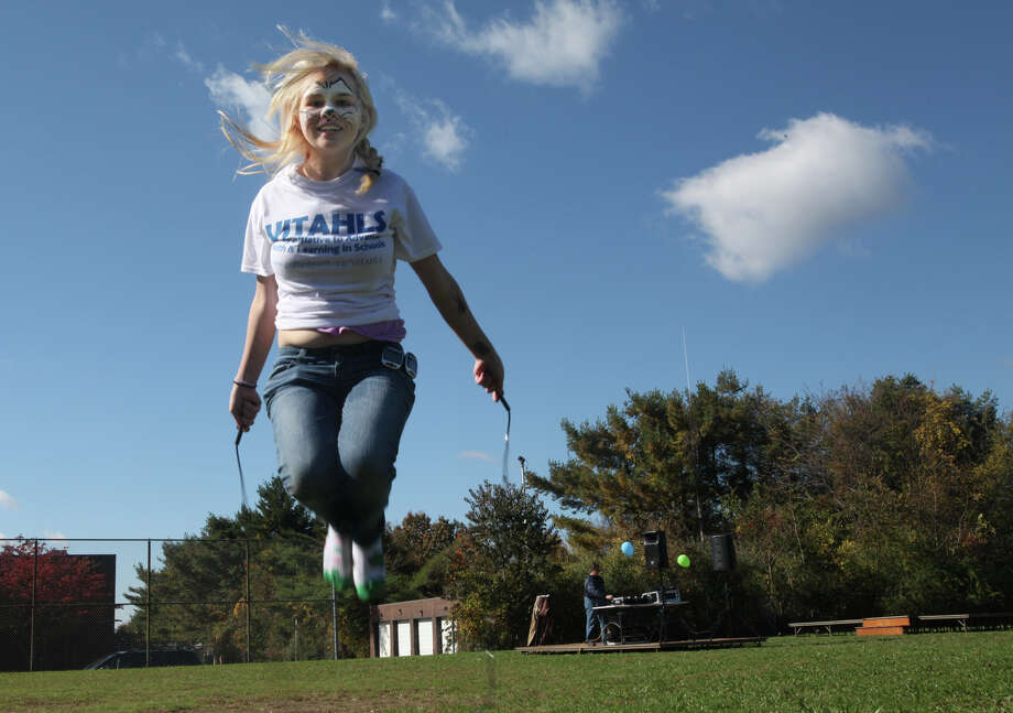 Emmett O'Brien student, Mysti Dahlman, 15, jumps rope at the VITAHLS (Valley Initiative to Advance Health & Learning in Schools) Family Fun Day at Emmett O'Brien in Ansonia, Conn. on Sunday, October 21, 2012. VITAHLS is a new community partnering Griffin Hospital, Yale-Griffin Prevention Research Center, and the Valley School Districts in an effort to reduce childhood obesity and promote the health, well-being, and academic readiness of students. Photo: B.K. Angeletti / Connecticut Post freelance B.K. Angeletti