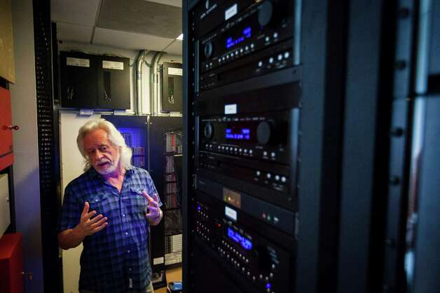 Michael Bleyzer's control center that operates his network based 15,000-square-foot house overlooking a wooded nature preserve on the banks of Buffalo Bayou and designed by the firm Stern & Bucek, Wednesday, Oct. 10, 2012, in Houston.  The Bleyzer House is on this year's American Institute of Architects Home Tour 2012. Photo: Michael Paulsen, Houston Chronicle / © 2012 Houston Chronicle