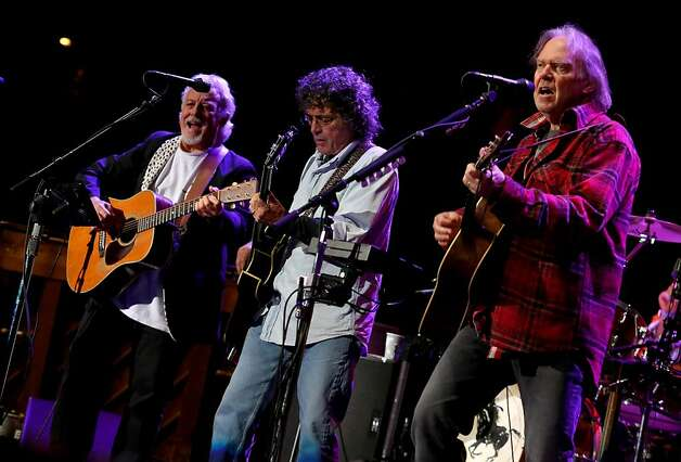 Crazy Horse's Frank Sampedro, Billy Talbot and Neil Young perform at the Bridge School Benefit Concert at the Shoreline Amphitheatre on Saturday, Oct. 20, 2012, in Mountain View, Calif. (Photo by Barry Brecheisen/Invision/AP) Photo: Barry Brecheisen, Associated Press
