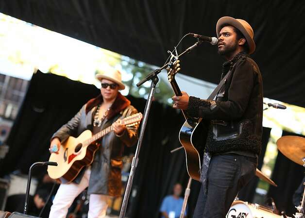 Gary Clark Jr. performs at the Bridge School Benefit Concert at the Shoreline Amphitheatre on Saturday, Oct. 20, 2012, in Mountain View, Calif. (Photo by Barry Brecheisen/Invision/AP) Photo: Barry Brecheisen, Associated Press