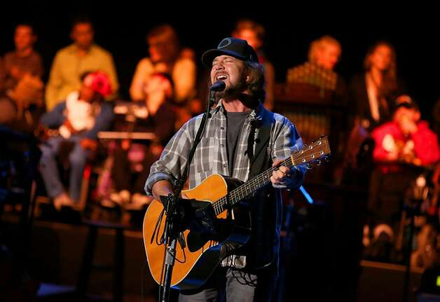 Eddie Vedder makes a surprise perform at the Shoreline Amphitheatre on Saturday, Oct. 20, 2012, in Mountain View, Calif. (Photo by Barry Brecheisen/Invision/AP) Photo: Barry Brecheisen, Associated Press