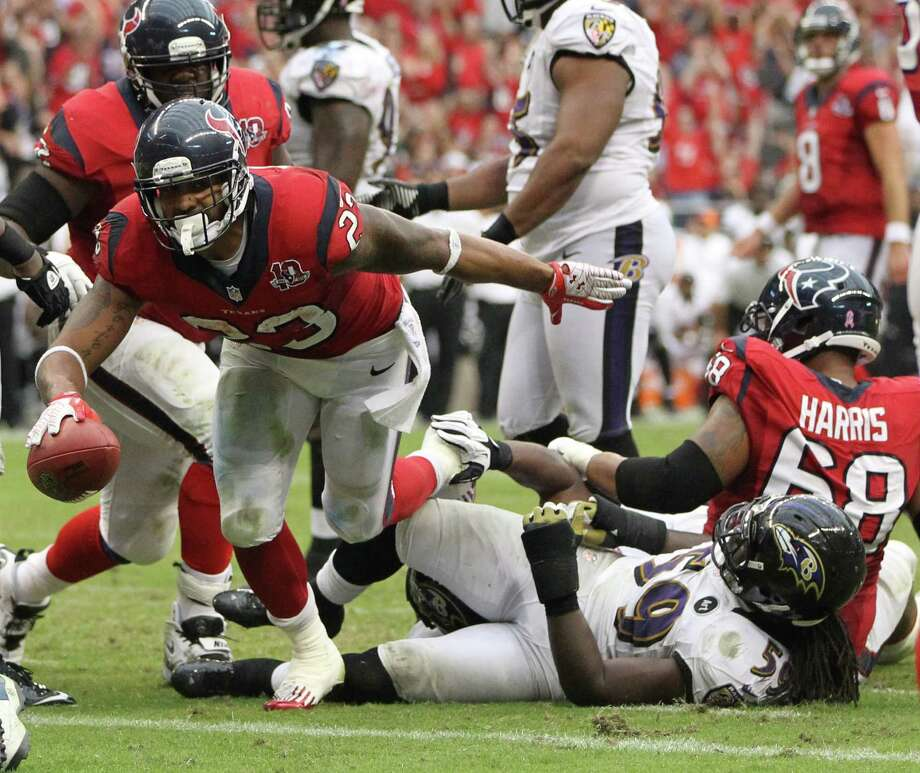 Houston Texans running back Arian Foster (23) reacts after his touchdown during the fourth quarter of an NFL football game at Reliant Stadium, Sunday, Oct. 21, 2012, in Houston. Texans won 43-13. Photo: Karen Warren, Houston Chronicle / © 2012  Houston Chronicle