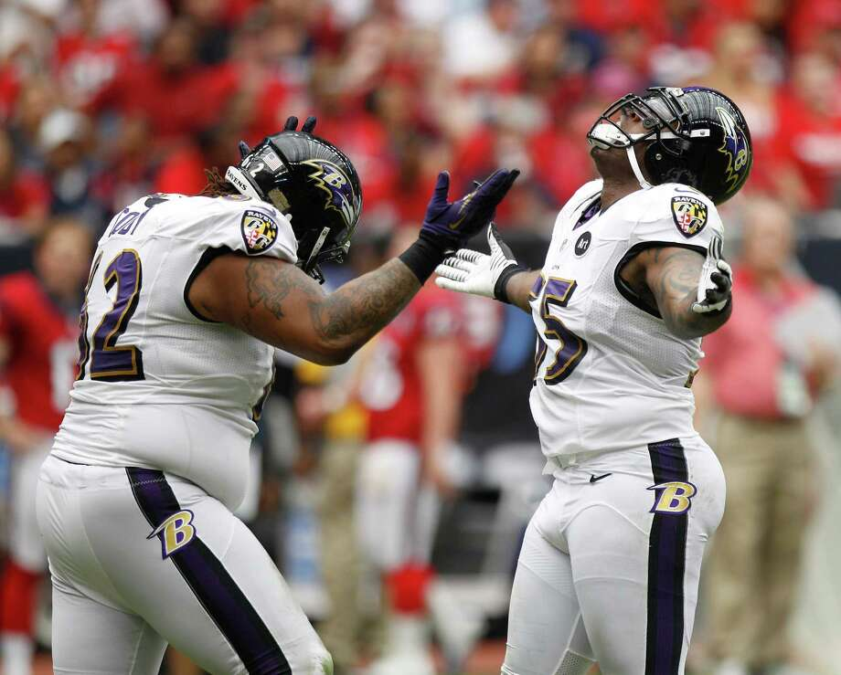 Baltimore Ravens linebacker Terrell Suggs (55) reacts after sacking Houston Texans quarterback Matt Schaub (8) during the first quarter at Reliant Stadium on Sunday, Oct. 21, 2012, in Houston. Photo: Brett Coomer, Houston Chronicle / © 2012  Houston Chronicle