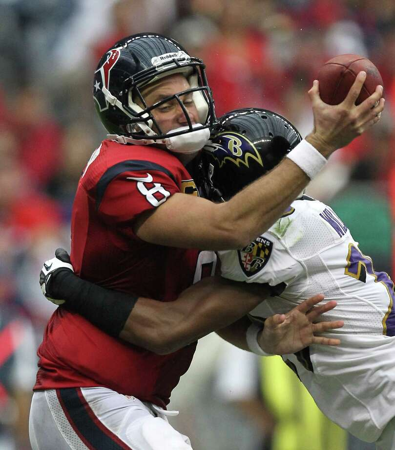 Houston Texans quarterback Matt Schaub (8) is sacked by Baltimore Ravens cornerback Cary Williams (29) during the third quarter of an NFL football game, Sunday, Oct. 21, 2012, at Reliant Stadium in Houston. Photo: Nick De La Torre, Houston Chronicle / © 2012  Houston Chronicle