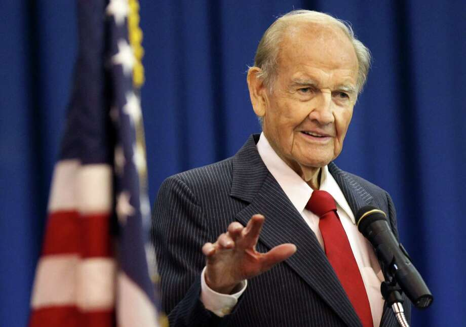 In this Jan. 20 photo, George McGovern speaks during First Coast Technical College's winter commencement ceremony in St. Augustine, Fla.   McGovern was a gentleman and patriotic public servant. Photo: File Photo, Associated Press / The St. Augustine Record