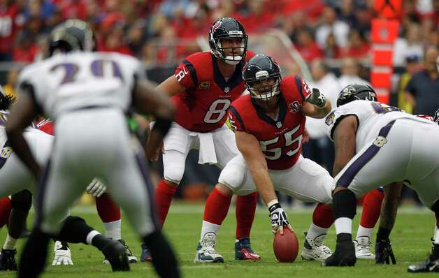 Houston Texans center Chris Myers (55) gets ready to snap the football to Houston Texans quarterback Matt Schaub (8) during the first quarter at Reliant Stadium on Sunday, Oct. 21, 2012, in Houston. Photo: Brett Coomer, Houston Chronicle / © 2012  Houston Chronicle