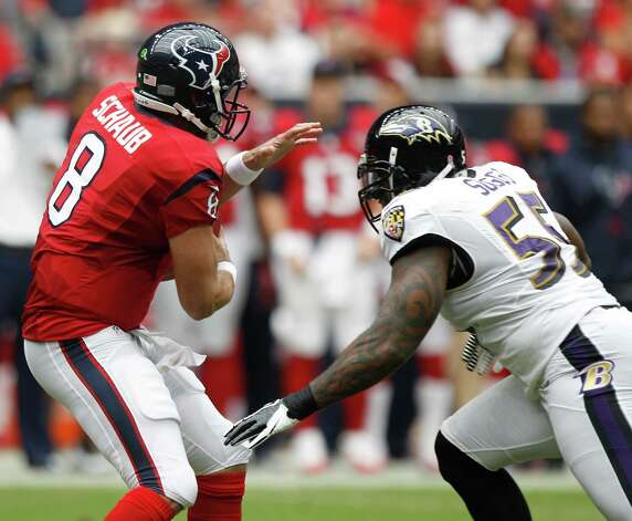Houston Texans quarterback Matt Schaub (8) reacts as he is about to get sacked by Baltimore Ravens linebacker Terrell Suggs (55) during the first quarter at Reliant Stadium on Sunday, Oct. 21, 2012, in Houston. Photo: Brett Coomer, Houston Chronicle / © 2012  Houston Chronicle