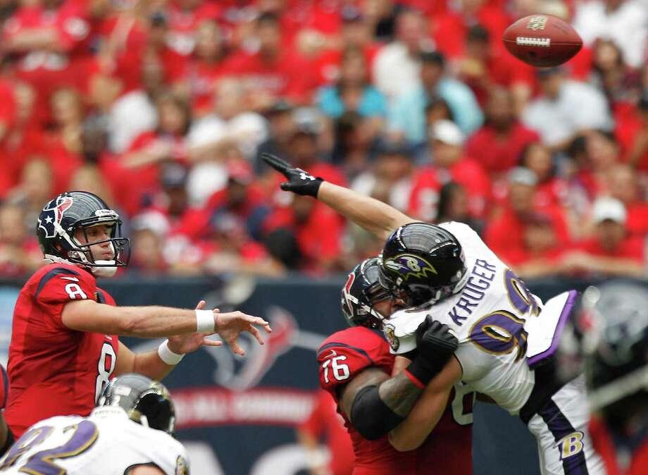 Houston Texans quarterback Matt Schaub (8) throws the ball during the second quarter at Reliant Stadium on Sunday, Oct. 21, 2012, in Houston. Photo: Brett Coomer, Houston Chronicle / © 2012  Houston Chronicle