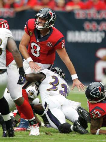 Houston Texans quarterback Matt Schaub (8) falls back after releasing the ball during the second quarter at Reliant Stadium on Sunday, Oct. 21, 2012, in Houston. Photo: Brett Coomer, Houston Chronicle / © 2012  Houston Chronicle