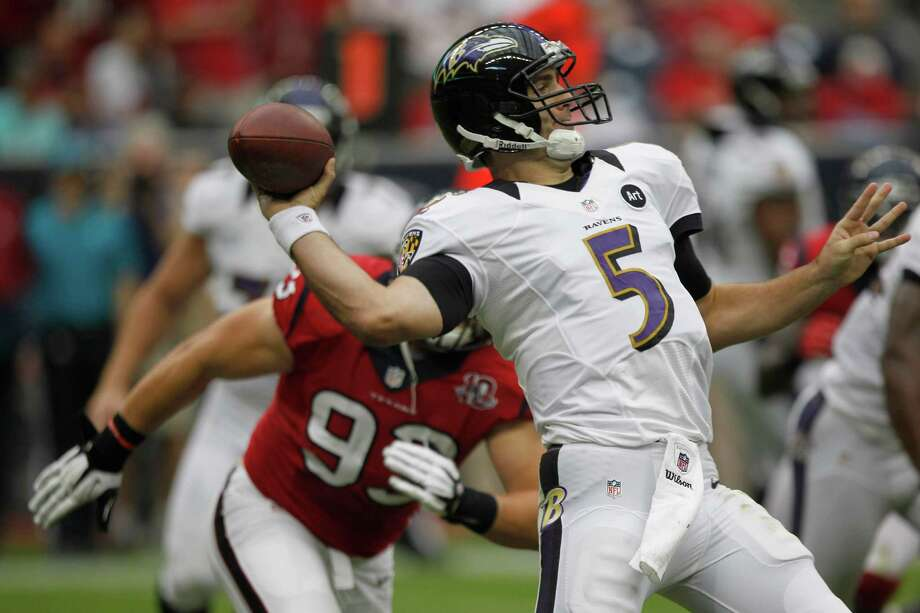 Baltimore Ravens quarterback Joe Flacco (5) throws the ball during the second quarter at Reliant Stadium on Sunday, Oct. 21, 2012, in Houston. Photo: Brett Coomer, Houston Chronicle / © 2012  Houston Chronicle