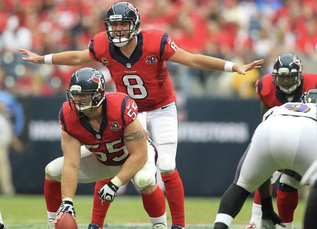 Houston Texans quarterback Matt Schaub (8) gets ready to take a snap during the fourth quarter of an NFL football game at Reliant Stadium, Sunday, Oct. 21, 2012, in Houston. Texans won 43-13. Photo: Karen Warren, Houston Chronicle / © 2012  Houston Chronicle