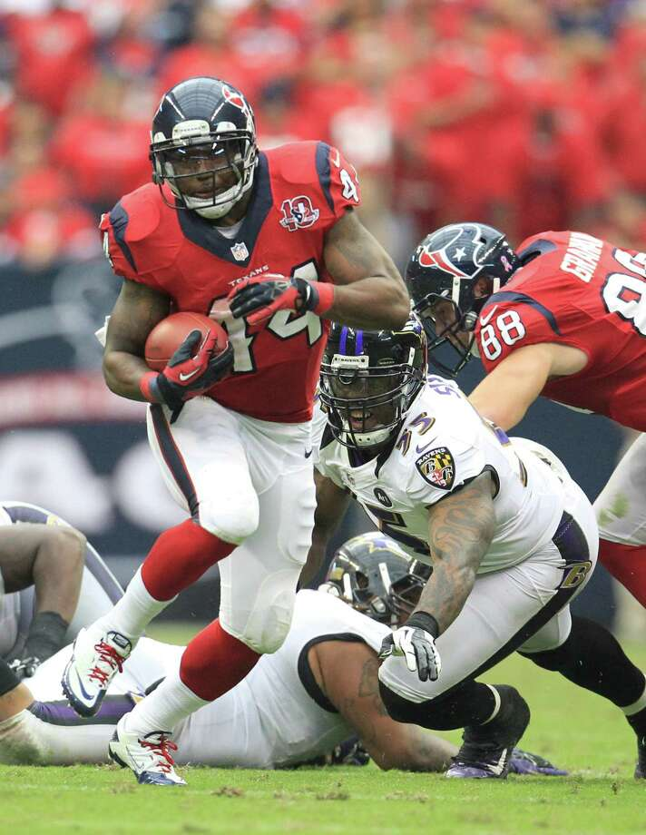 Houston Texans running back Ben Tate (44) runs the ball during the fourth quarter of an NFL football game at Reliant Stadium, Sunday, Oct. 21, 2012, in Houston. Texans won 43-13. Photo: Karen Warren, Houston Chronicle / © 2012  Houston Chronicle