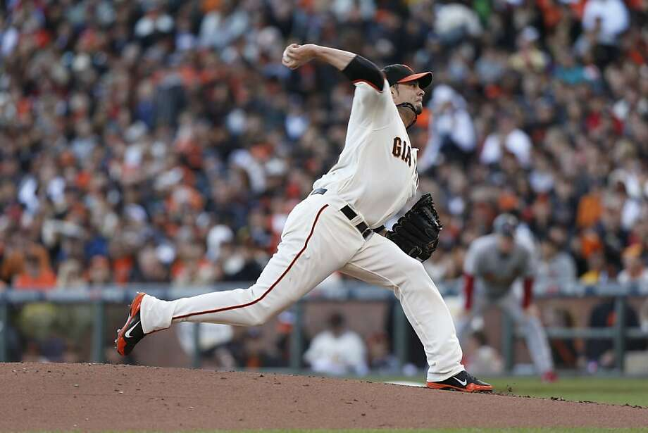 Giants' pitcher Ryan Vogelsong throws in the first inning during game 2 of the NLCS at AT&T Park on Monday, Oct. 15, 2012 in San Francisco, Calif. Photo: Michael Macor, The Chronicle