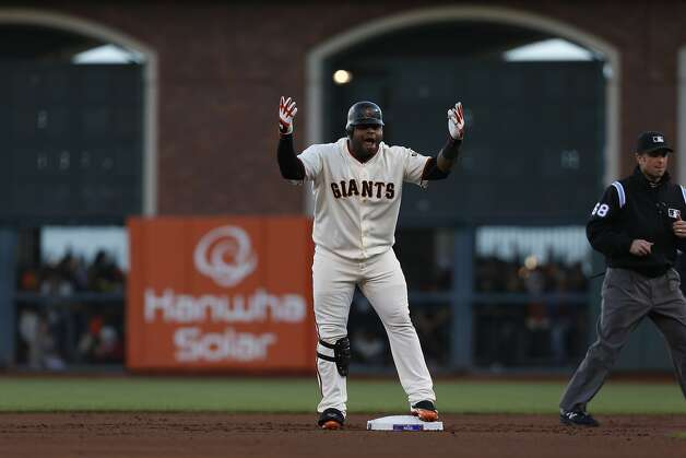 Pablo Sandoval's double was his seventh hit of the NLCS. If the Giants and Tigers meet in the World Series, his counterpart at third base would be Venezuelan countryman Miguel Cabrera. Photo: Michael Macor, The Chronicle