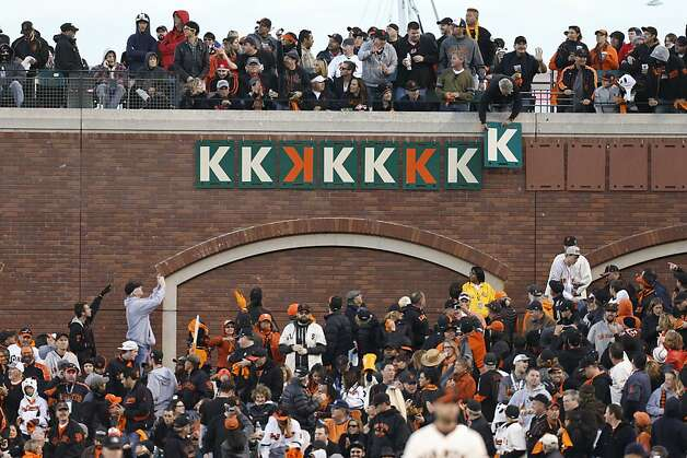 The 8th K is placed on the board as Giants' pitcher Ryan Vogelsong ties his career strikeout record in the 5th inning during game 6 of the NLCS at AT&T Park on Sunday, Oct. 21, 2012 in San Francisco, Calif. Photo: Michael Macor, The Chronicle