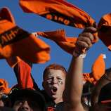 Ruben Davis, 14, of Lodi, cheers at the beginning of Game 6 of the NLCS between the San Francisco Giants and the St. Louis Cardinals at AT&T Park Sunday, October 21, 2012 in San Francisco, Calif.