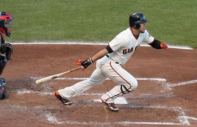 Giants' left fielder Gregor Blanco doubles in the 3rd inning during game 6 of the NLCS at AT&T Park on Sunday, Oct. 21, 2012 in San Francisco, Calif. Photo: Lance Iversen, The Chronicle