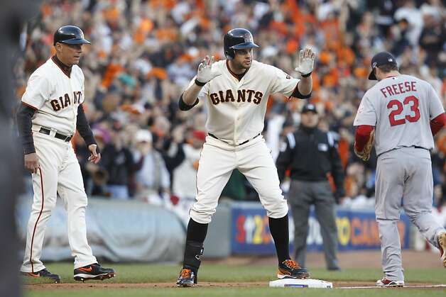Giants' first baseman Brandon Belt hit a triple to start off a 2nd inning rally during the NLCS game 6 at AT&T Park in San Francisco, Calif., on Sunday, Oct. 21, 2012. Photo: Brant Ward, The Chronicle
