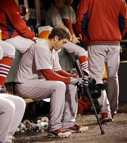 St. Louis Cardinals' David Freese waits to bat during the eighth inning of Game 6 of baseball's National League championship series against the San Francisco Giants Sunday, Oct. 21, 2012, in San Francisco. (AP Photo/David J. Phillip) Photo: David J. Phillip, Associated Press