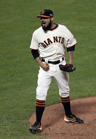 San Francisco Giants lrefief pitcher Sergio Romo celebrates the final out of the Giants 6-1 win over the St. Louis Cardinals in game six of the NLCS at AT&T Park on Sunday, Oct. 21, 2012 in San Francisco, Calif. Photo: Lance Iversen, The Chronicle