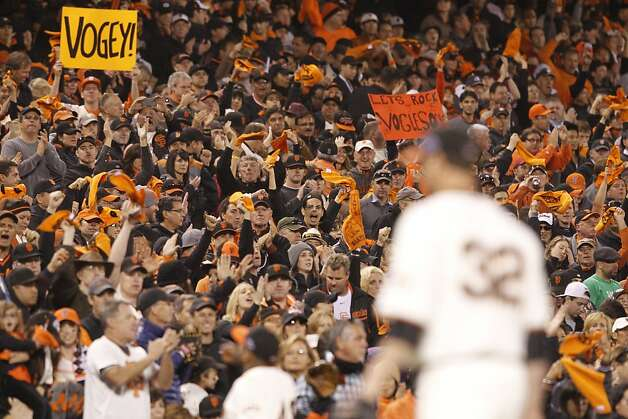Giants' pitcher Ryan Vogelsong leaves the game to cheers after striking out 9 through the 8th inning during the NLCS game 6 at AT&T Park in San Francisco, Calif., on Sunday, Oct. 21, 2012. Photo: Brant Ward, The Chronicle