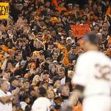 Giants' pitcher Ryan Vogelsong leaves the game to cheers after striking out 9 through the 8th inning during the NLCS game 6 at AT&T Park in San Francisco, Calif., on Sunday, Oct. 21, 2012.