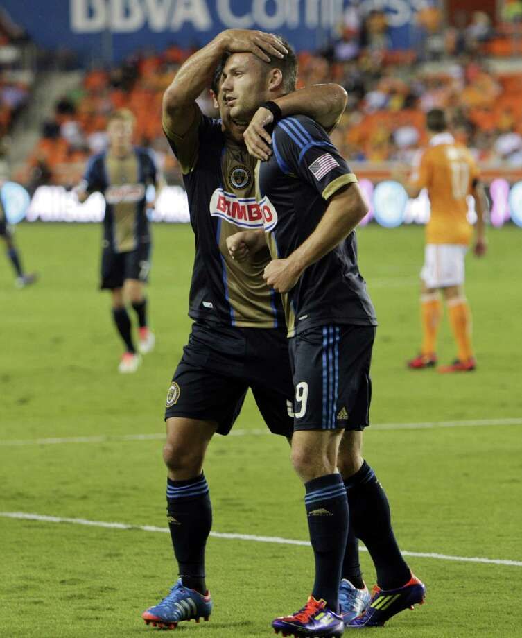 HOUSTON,TX - OCTOBER 20:  Jack McInerney #9 of the Philadelphia Union celebrates his first half goal against the Houston Dynamo at BBVA Compass Stadium on October 20, 2012 in Houston, Texas. Houston won 3-1. Photo: Bob Levey, Getty Images / 2012 Getty Images
