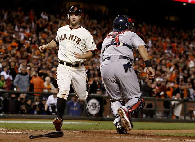 Brandon Belt scored the Giants last run in the 8th inning. The San Francisco Giants defeated the St. Louis Cardinals 6-1 to tie up the NLCS series at AT&T park in San Francisco, Calif. Sunday October 21, 2012. Photo: Brant Ward, The Chronicle