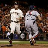 Brandon Belt scored the Giants last run in the 8th inning. The San Francisco Giants defeated the St. Louis Cardinals 6-1 to tie up the NLCS series at AT&T park in San Francisco, Calif. Sunday October 21, 2012.