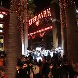 Giants fans fill Willie Mays Plaza after the Giants win the sixth game of the NLCS against the St. Louis Cardinals in San Francisco on Sunday, Oct. 21, 2012.