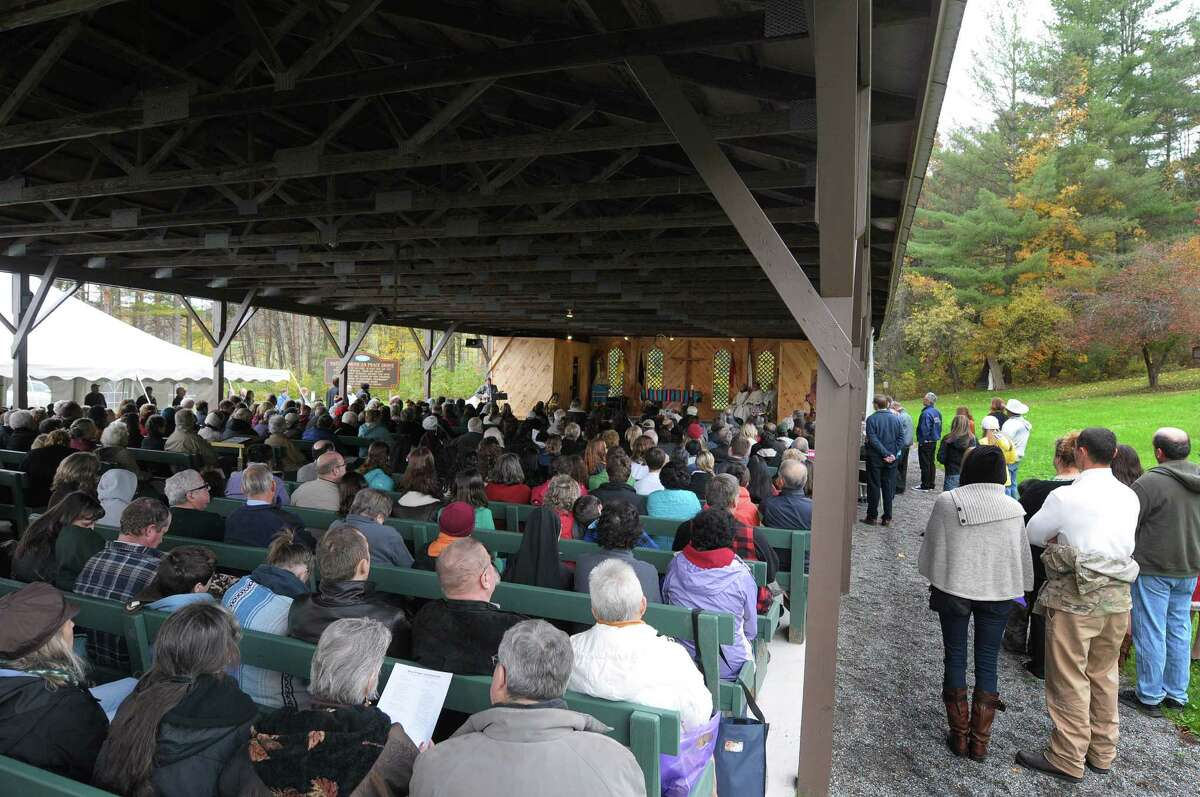 People gather for a mass and canonization celebration for Kateri Tekakwitha at the National Kateri Shrine on Sunday, Oct. 21, 2012 in Fonda, NY. (Paul Buckowski / Times Union)