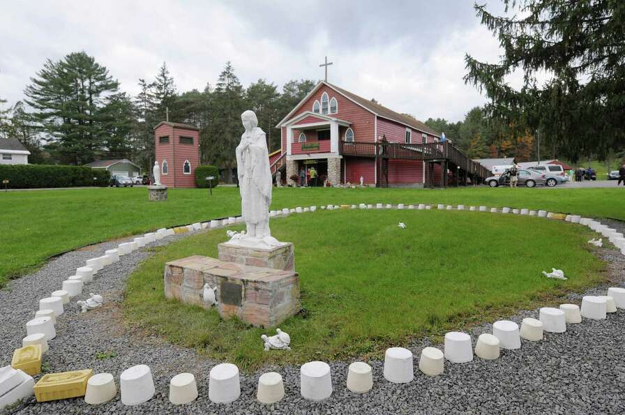 A view of a statue of Kateri Tekakwitha at the National Kateri Shrine on Sunday, Oct. 21, 2012 in Fo