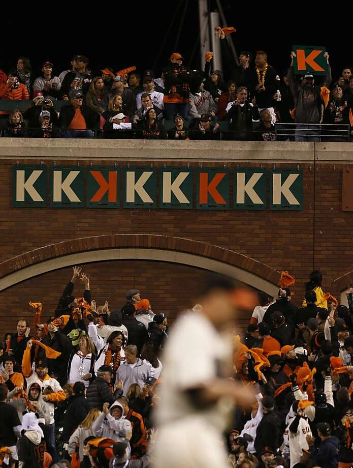 "Ryan Vogelsong's career-high ninth strikeout brings another ""K"" to the AT&T Park display. Photo: Michael Macor, The Chronicle"