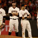 The Giants infield, l-r, Pablo Sandoval, Brandon Belt Marco Scutaro and Brandon Crawford waited for a pitching change in the 8th inning. The San Francisco Giants defeated the St. Louis Cardinals 6-1 to tie up the NLCS series at AT&T park in San Francisco, Calif. Sunday October 21, 2012.