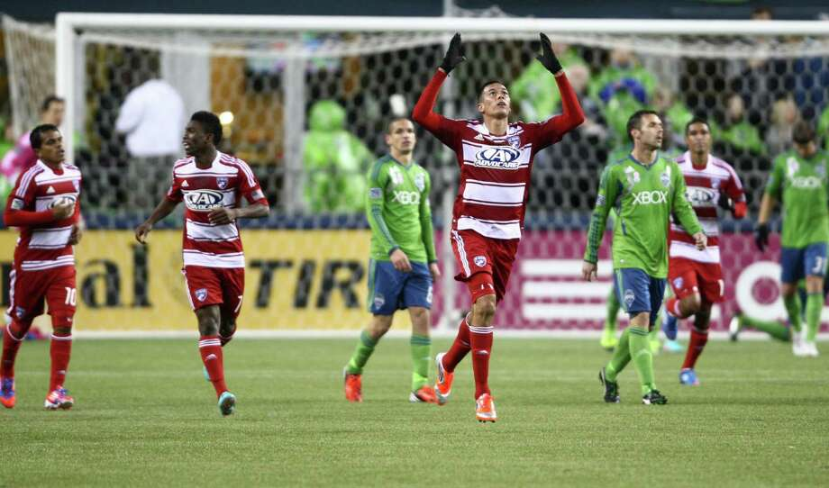 FC Dallas player Blas Perez reacts after scoring a goal against the Sounders in the first half. Photo: JOSHUA TRUJILLO / SEATTLEPI.COM