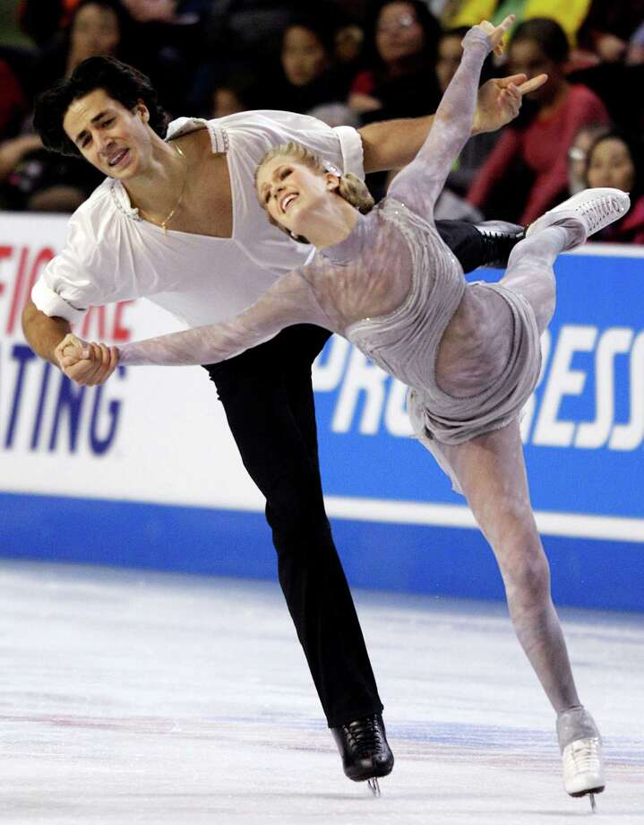 Canada's Kaitlyn Weaver and Andrew Poje compete in the ice dance event. The pair won the bronze medal in the event. Photo: AP