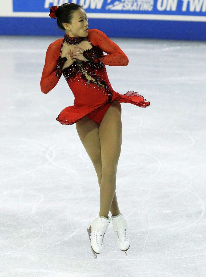 USA's Christina Gao skates in the ladies free event. Gao won the silver medal in the event. Photo: AP