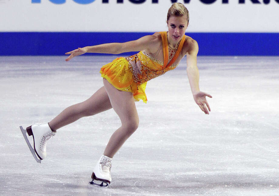 Ashley Wagner performs in her first-place performance in the ladies free event. Photo: AP