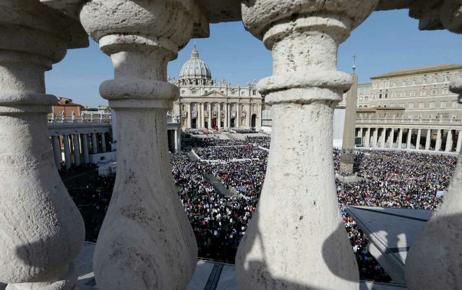 A view of St. Peter's Square, at the Vatican, as  Pope Benedict XVI celebrates a canonization ceremony, Sunday, Oct. 21, 2012. The pontiff will canonize seven people, Kateri Tekakwitha, Maria del Carmen, Pedro Calungsod, Jacques Berthieu, Giovanni Battista Piamarta, Mother Marianne Cope, and Anna Shaeffer. Photo: Alessandra Tarantino, AP / AP