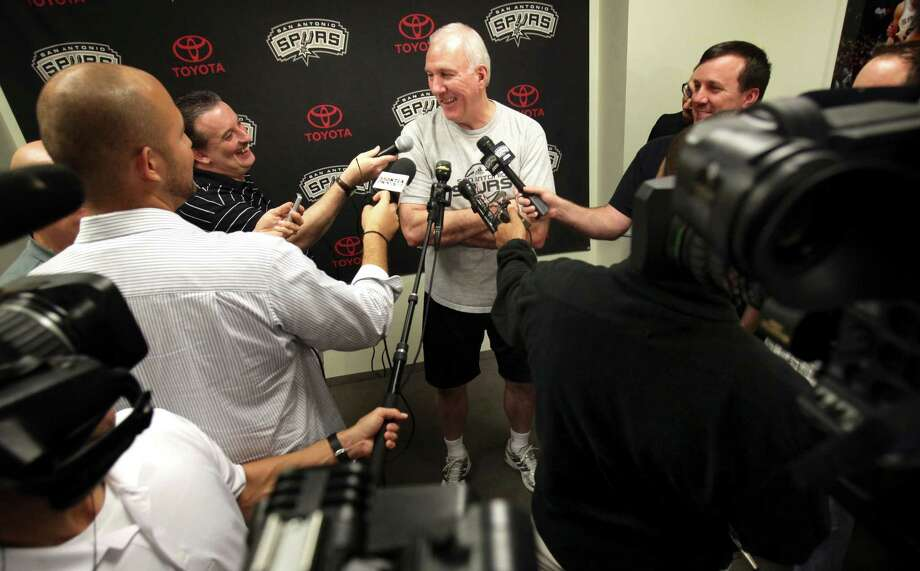 San Antonio Spurs Coach Gregg Popovich talks to the media at the Spurs practice facility in San Antonio, Friday, Dec. 2, 2011.  Photo Bob Owen/rowen@express-news.net Photo: Bob Owen, San Antonio Express-News / rowen@express-news.net