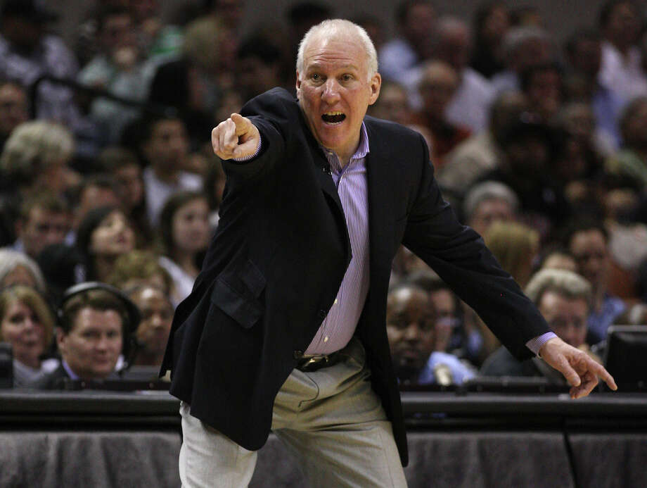 San Antonio Spurs Head Coach Gregg Popovich yells during the second half against the Chicago Bulls at the AT&T Center, Wednesday, Feb. 29, 2012. The Bulls won 96-89. Jerry Lara/San Antonio Express-News Photo: Jerry Lara, San Antonio Express-News / © San Antonio Express-News