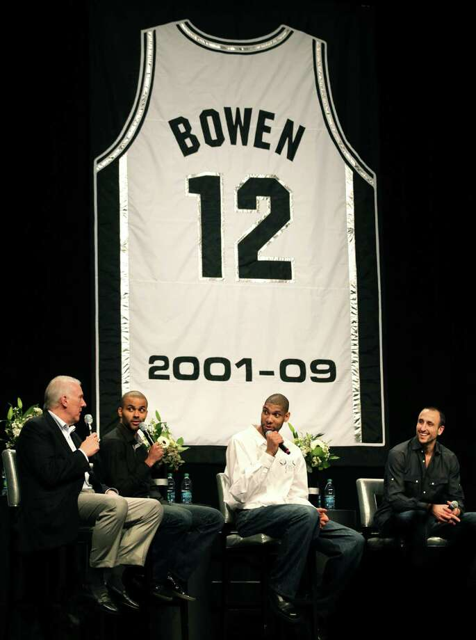 Coach Gregg Popovich, left to right, Tony Parker, Tim Duncan, and Manu Ginobili, tell stories about Bruce Bowen at his Jersey Retirement Luncheon at the ATT Center, Monday, March 19, 2012.  Bob Owen/San Antonio Express-News. Photo: BOB OWEN, San Antonio Express-News / © 2012 San Antonio Express-News