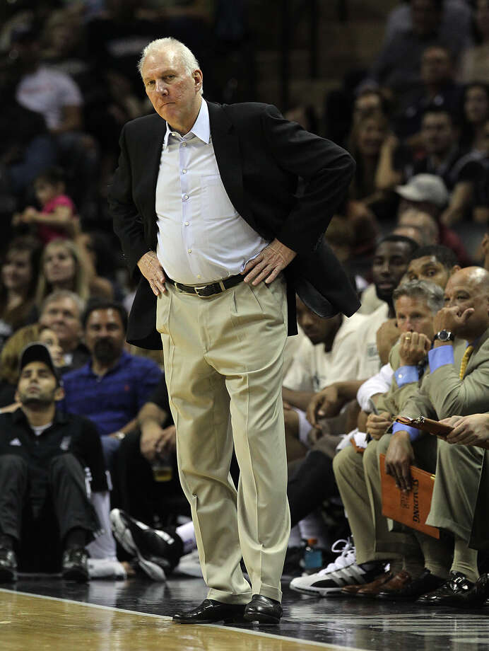 Spurs coach Gregg Popovich appear less than pleased by his team's play against the Los Angeles Lakers at the AT&T Center on Wednesday, Apr. 11, 2012. Spurs lose to the Lakers, 84-98. Kin Man Hui/Express-News. Photo: Kin Man Hui, San Antonio Express-News / ©2012 San Antonio Express-News